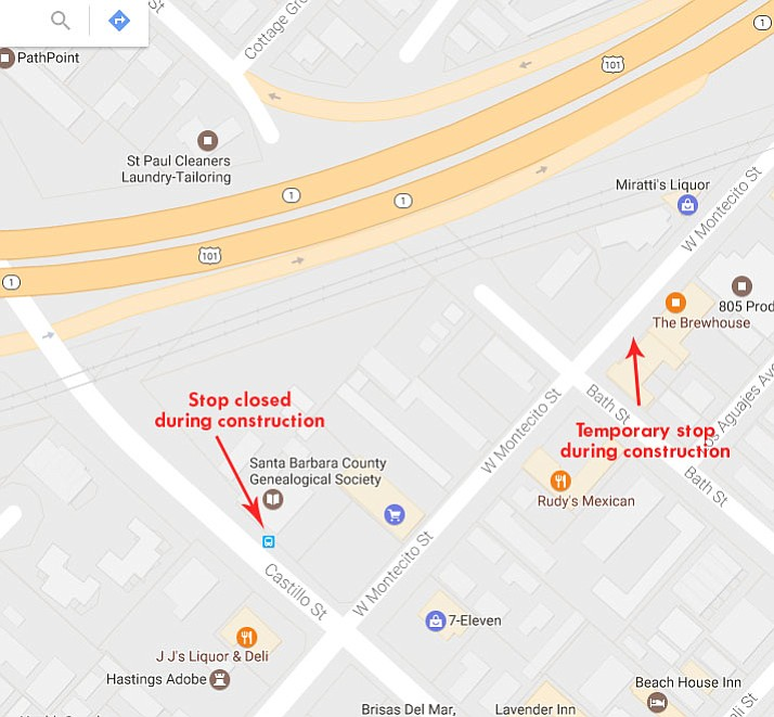 The closure of the Castillo Street underpass for two months means bus routes will change. The 5 and 15x bus stop at Castillo near West Montecito Street moves to Bath Street.