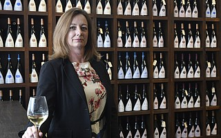 Morgen McLaughlin, .Executive Director, Santa Barbara Vintners, at Au Bon Climat Winery tasting room in Santa Barbara