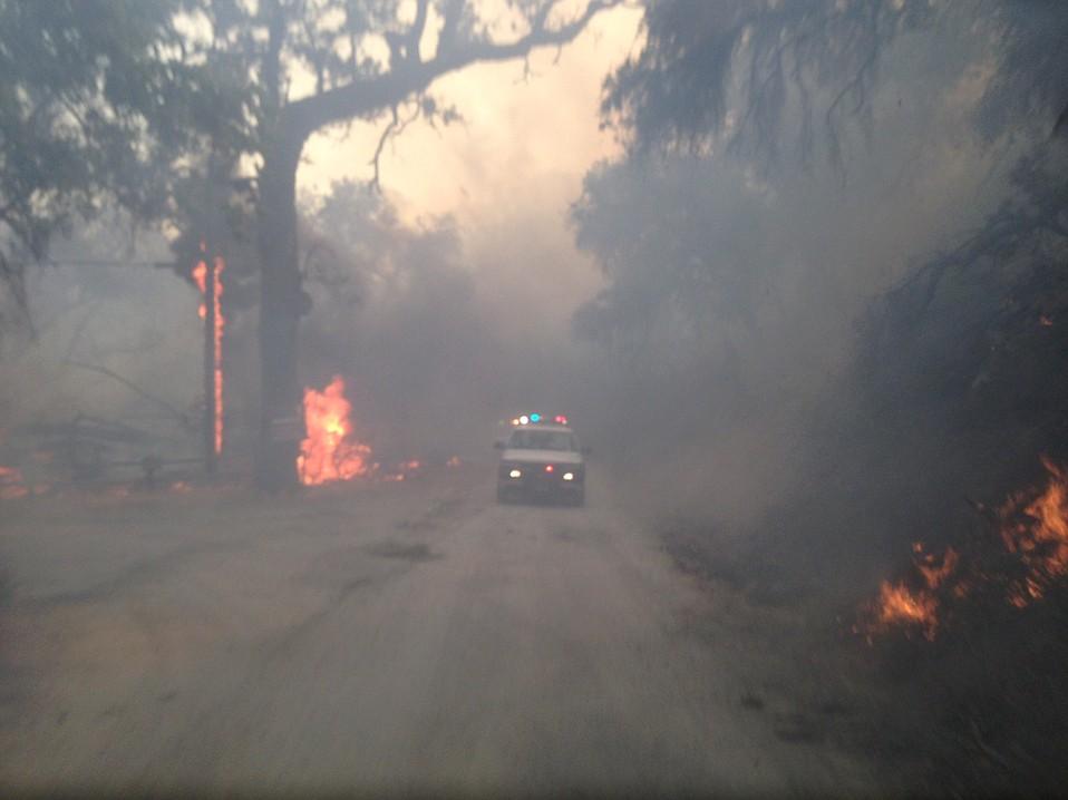 Santa Barbara County Search and Rescue vehicles rush to the scene.