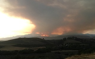 The Whittier Fire, as seen from Winchester Canyon Road on Thursday evening.