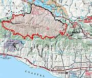 Whittier Fire map, July 15, 2017