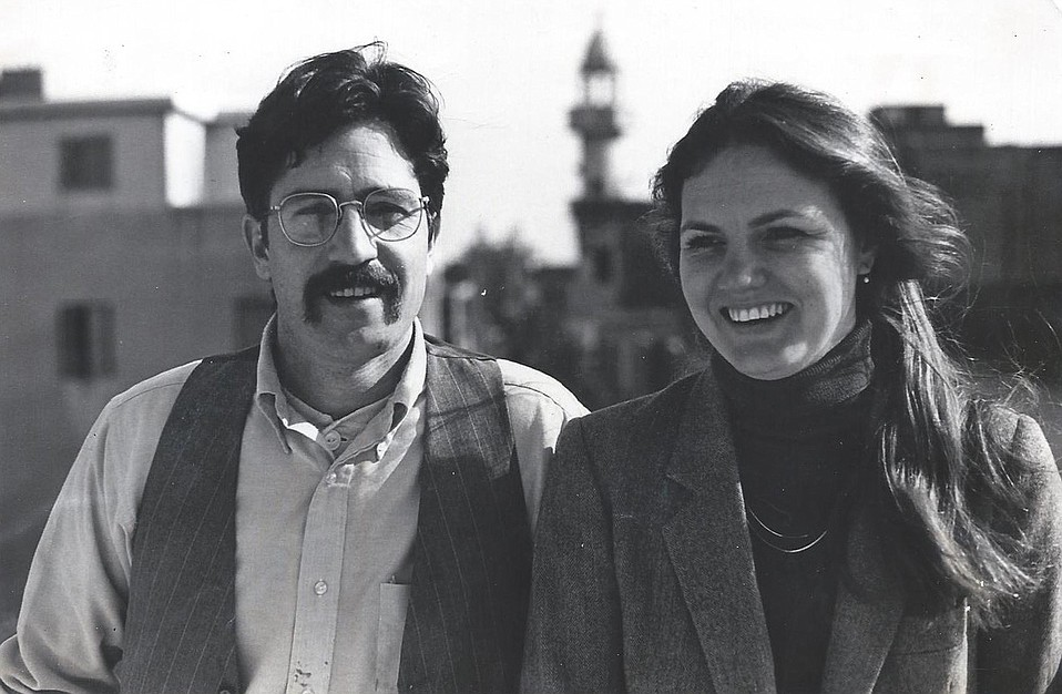 """Our Wine on Ice correspondent Ralph Lowe (top) was in Egypt with his wife, Georgene, in 1983. Often a teacher, he wrote: """"Once the indisputable first city of the Western World, Alexandria was rotting from the inside out. The sea air played hell with the paint and the marble and the concrete."""" Their rooms were close to a """"long walk beside the sea that ended in the ruins of the Great Library of Alexandria, the burning of which was the single greatest catastrophe of Antiquity and, one could argue Western Civilization itself."""""""