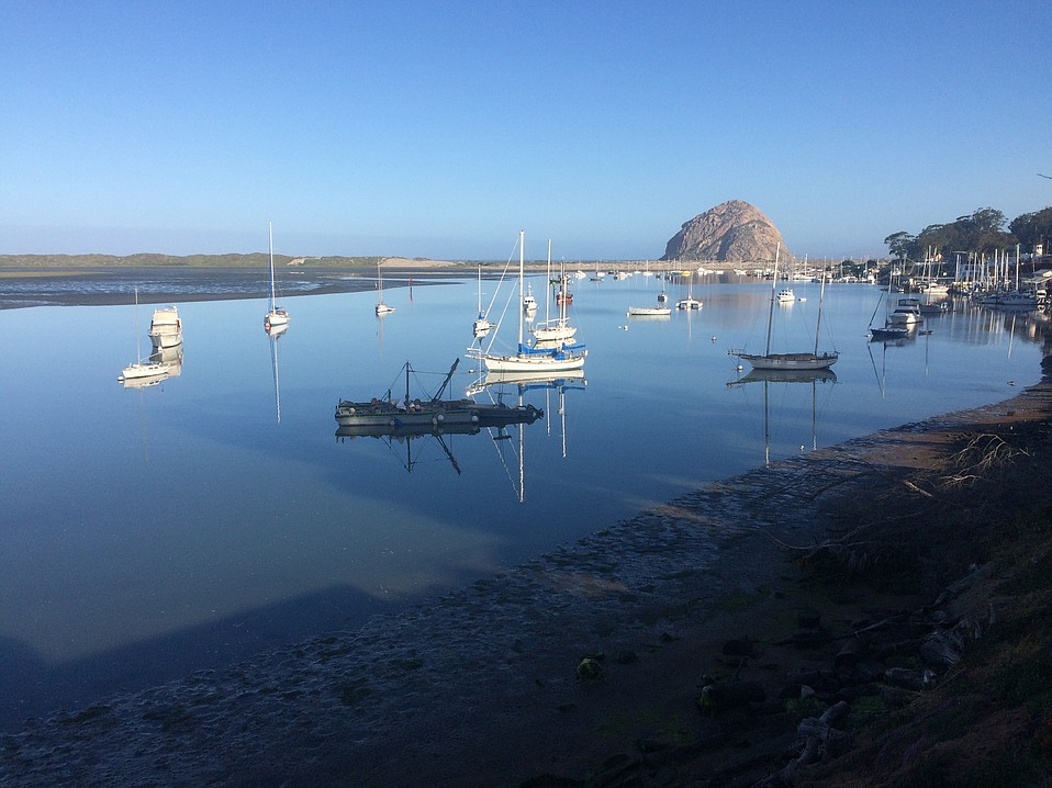 Low tide in the anchorage from 60 State Park, the restaurant at Inn at Morro Bay.