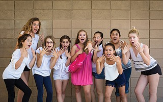 Pictured from left is the cast of Legally Blonde: Lulu Marsetti, Kassidy Becking, Willa Stuart, Taylor Wolf, Makena Schlens, Claire McKenzie, Marilee Larned, Lily Bimbela, and Cosi Arthurs.