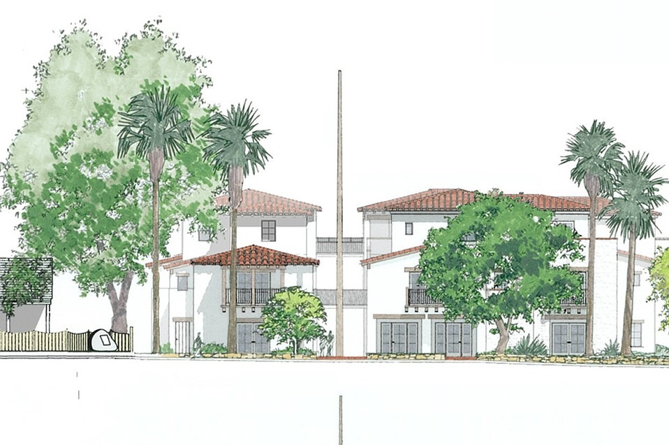 Artist's rendering of the 23-unit apartment complex approved for 800 Santa Barbara Street.