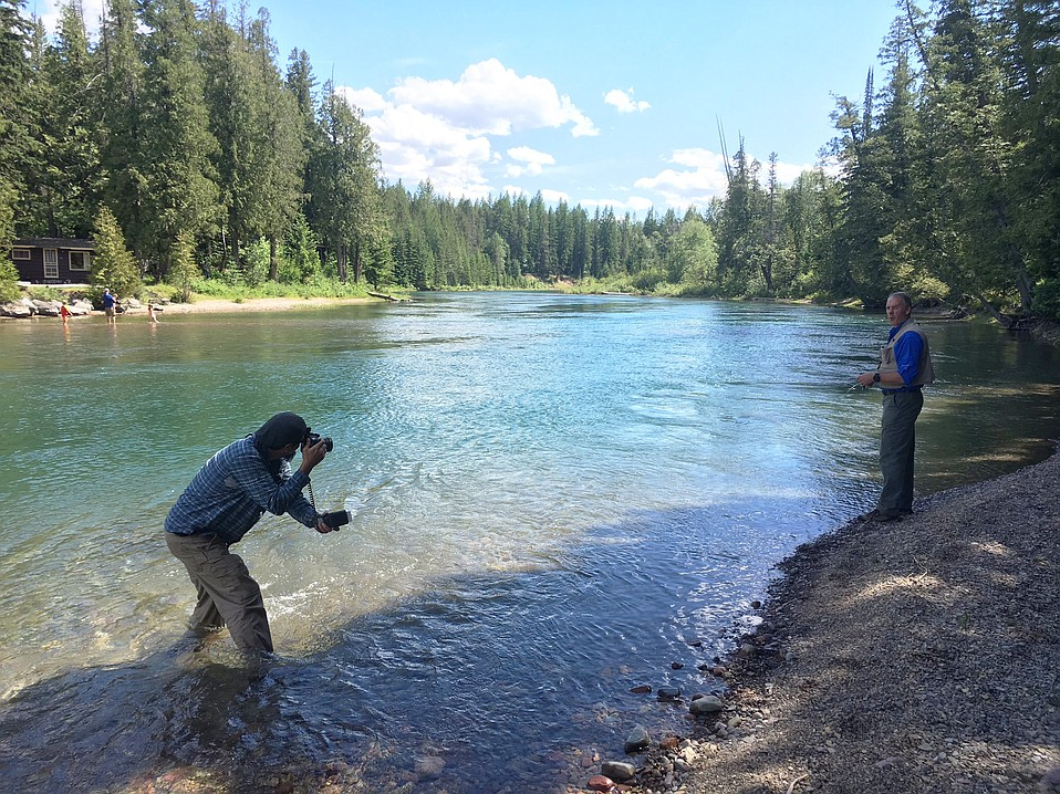 Secretary Zinke poses for a casual photo during a fishing trip to Glacier National Park.
