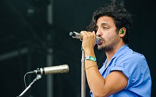 """""""Seven years ago, we played for a crowd of 200 people here in San Francisco,"""" lead singer Sameer Gadhia of Young the Giant told fans at Outside Lands 2017. Pictured here, on the Lands End main stage at Outside Lands, they performed for an audience of 40,000."""