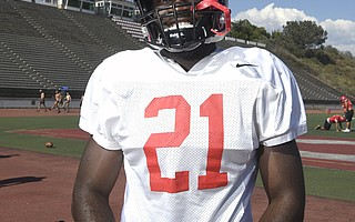 Manny Nwosu (21), an SBCC sophomore from Dos Pueblos High, will be a featured running back for the Vaqueros.