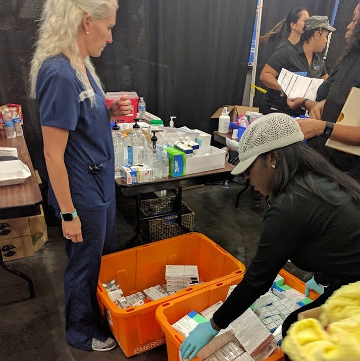 "Houston's George R. Brown Convention Center, where Direct Relief supplies are being unpacked, shelters more than 10,000 people displaced by Hurricane Harvey. Medical needs are ""immense,"" said Direct Relief's Tony Morain."