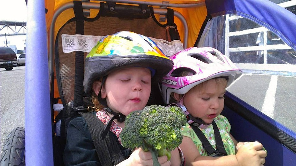 """Jen Goldman first used a baby trailer to hold both kids and groceries, but upgraded to a cargo bike when she found, """"If your kids are hungry, you might get home and no longer have the broccoli you planned to cook for dinner."""""""