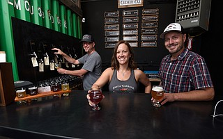 The Santa Barbara Cider trio of (from left) Ben Schroeder, Twilight Robin, and Niklas Shaefer is now serving a dozen hard ciders every weekend in Old Town Goleta.