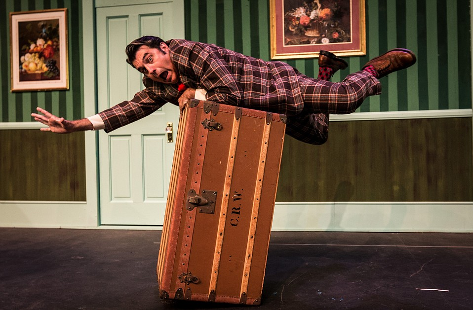 Michael Bernard (pictured) plays food-motivated, out-of-work musician Francis in SBCC's comedy of errors.