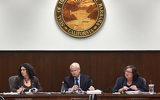 The city's Ordinance Committee — on Tuesday, composed of (from left) Mayor Helene Schneider and councilmembers Randy Rowse and Cathy Murillo — pondered the finer points of a new cannabis ordinance.